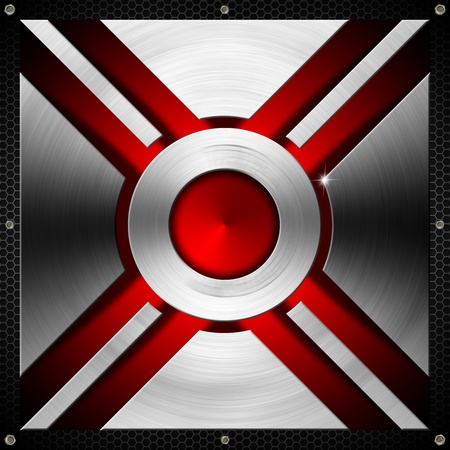 lamina: Metallic and red futuristic template background with geometrical forms