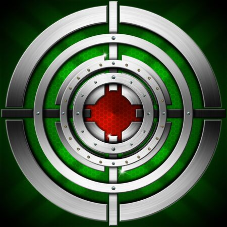 lamina: Metallic, green and red futuristic background with stylized target Stock Photo