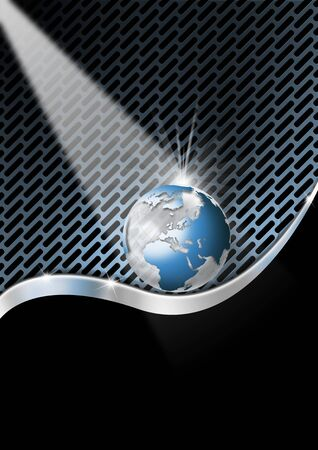 Blue and metal business background with waves, globe and reflections photo