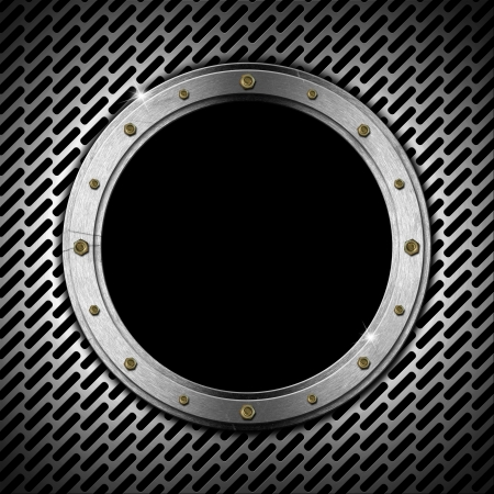 Dark gray metallic porthole with grid, bolts and black hole (window)  photo
