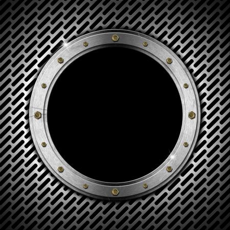 zwart gat: Donkergrijs metallic patrijspoort met rooster, bouten en zwart gat (raam)