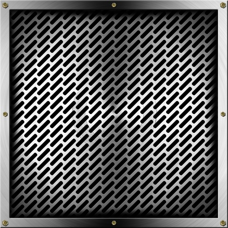 Metallic gray abstract background with grid and bolts photo