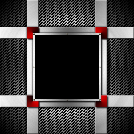 Metallic abstract background with grid texture and square metal frame Stock Photo - 19449055