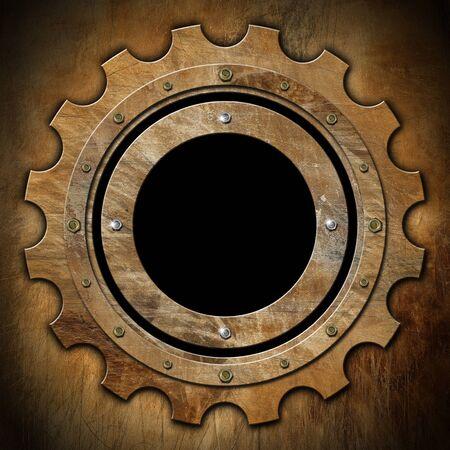 zwart gat: Bruine roestige metalen patrijspoort gear-vormig met zwart gat venster Stockfoto