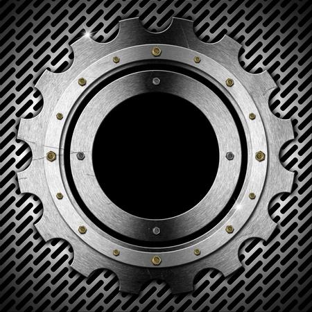 zwart gat: Metallic patrijspoort gear-vormig met zwart gat venster op metalen rooster Stockfoto