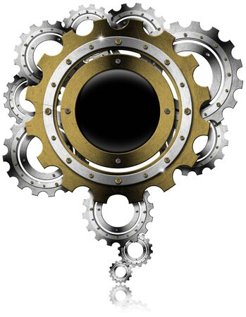 Industrial background with metal and golden gears on a white background Stock Photo - 19449090