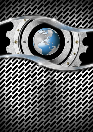 Blue and metal business background with gear, globe and grid photo