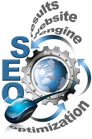increase visibility: Illustration with metal written SEO, metal gear, mouse and blue globe