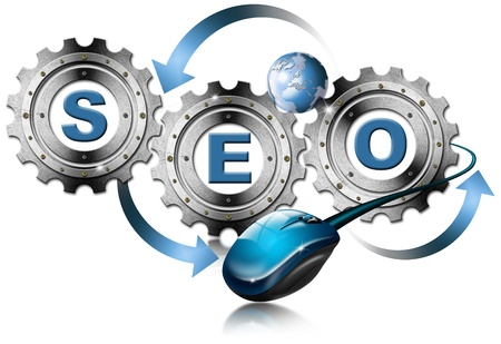 increase visibility: Illustration with metal gears, globe, mouse and written SEO