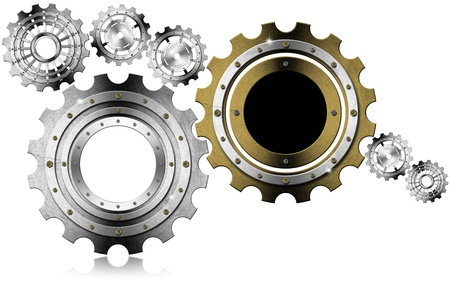 Industrial background with metal and golden gears on a white background photo