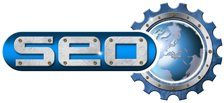 increase visibility: Illustration with metal written SEO, metal gear and blue globe