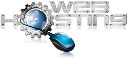 Illustration with metal written Web Hosting, metal gear, mouse and blue globe illustration