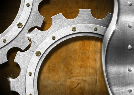 oxidation: Mechanical template with metallic gears on brown grunge background Stock Photo