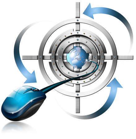 Metal target, mouse, globe and blue arrows on white background  Stock Photo