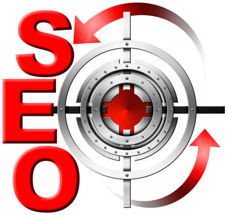 increase visibility: Illustration with red written SEO, metal target and red arrows