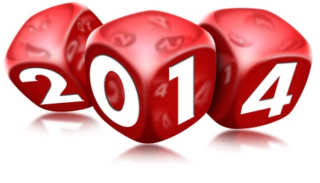 Three red dice with the written 2014 and reflections Stock Photo