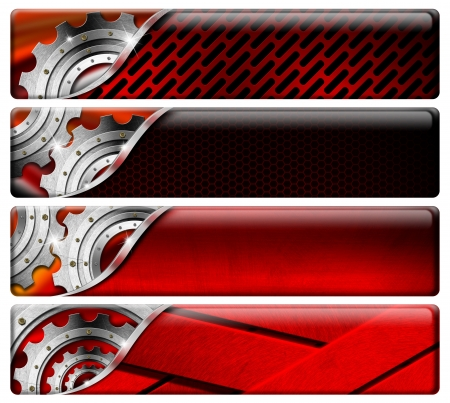Set of red metal industrial banners or headers with clipping path