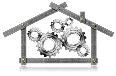 arquitecto: Herramienta de metro de metal formando una casa con engranajes de metal