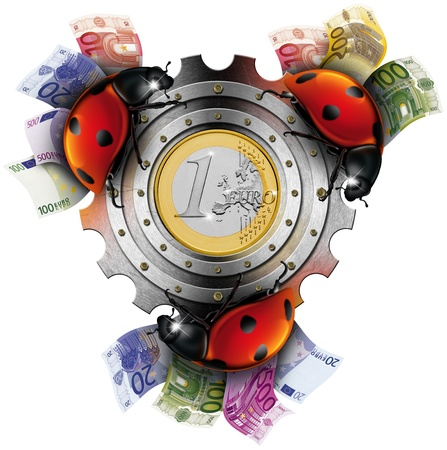 Three lucky ladybugs on the gear with money and cash photo