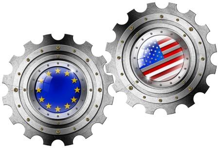 Twee metalen tandwielen met de VS en de Europese Unie vlaggen - Industriële samenwerking
