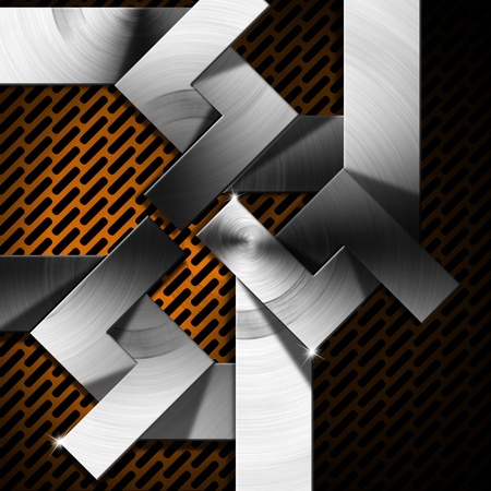 Metallic, orange and black futuristic template background with geometrical forms Stock Photo - 19606181