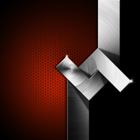 lamina: Metallic, red and black futuristic template background with geometrical forms Stock Photo
