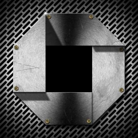 zwart gat: Grijs metallic Hexagonal patrijspoort met rooster, bouten en zwart gat (venster)