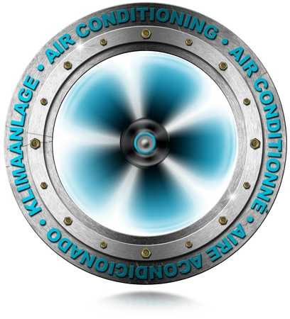 air diffuser: Metallic symbol air conditioning in 4 languages : English, French, Spanish, German