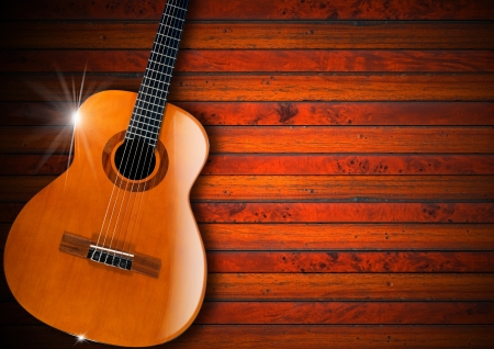 Acoustic brown guitar against a rustic wood background Stock Photo - 19759789
