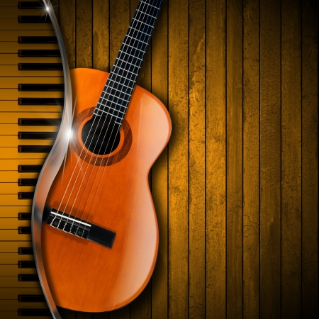 fretboard: Acoustic brown guitar and piano against a rustic wood background  Stock Photo