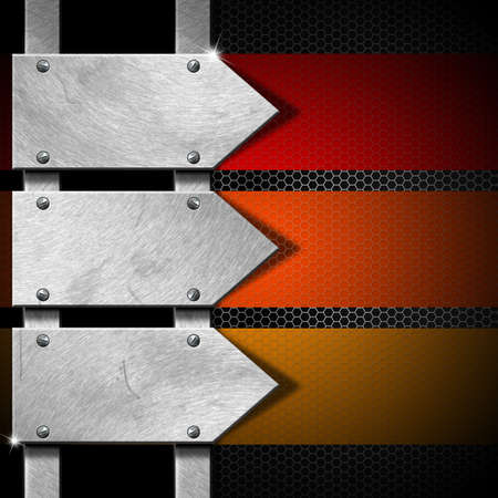 Black background with three metal arrows and colored bands photo