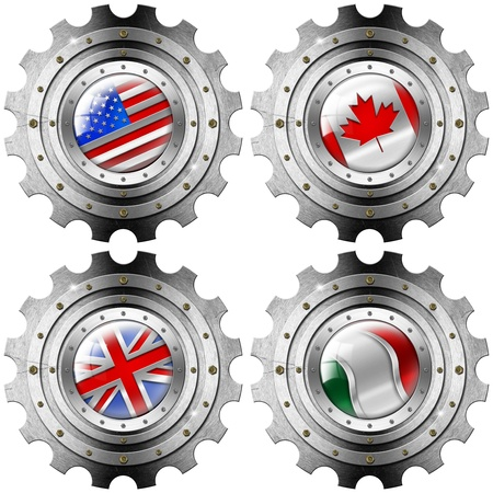 g20: Four metal gears with the flags of: USA, UK, Canada and Italy Stock Photo