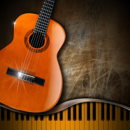 Acoustic brown guitar and piano against a grunge background  Stock Photo - 19760187