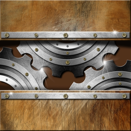 Mechanical template with metallic gears on brown grunge background photo