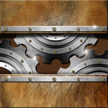 oxidado: Plantilla mec�nico con engranajes met�licos sobre fondo marr�n grunge Foto de archivo