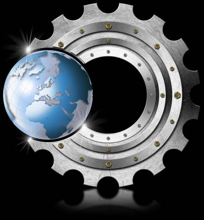 Industrial background with metal gear and blue terrestrial globe photo
