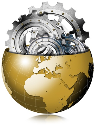 dissection: Illustration of dissection of golden earth showing metal gear inside Stock Photo