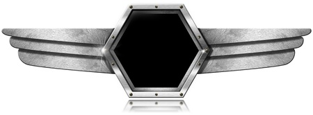 Dark gray hexagonal porthole with screws and metal wings on white background photo