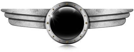 Dark gray metallic porthole with bolts and metal wings on white background photo