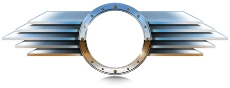 Metal chrome porthole with bolts and metal wings on white background  photo