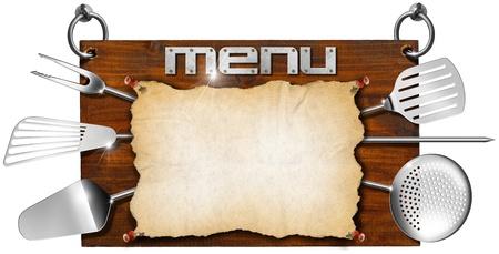 Wooden dark brown signboard with written  Stock Photo - 20209717
