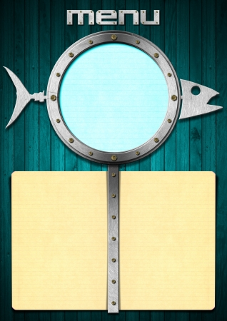 Restaurant fish menu with metal porthole and yellow empty pages photo