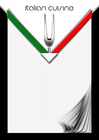 カバーまたはイタリア国旗とフォークでイタリア メニューの背景