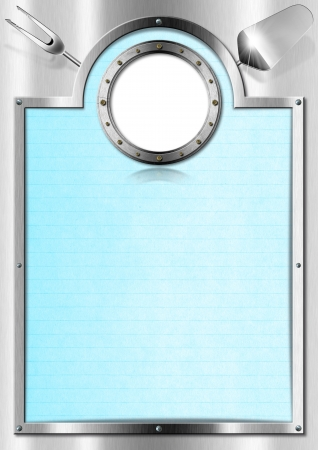Restaurant metal menu with metal porthole and blue empty page Stock Photo - 20209731