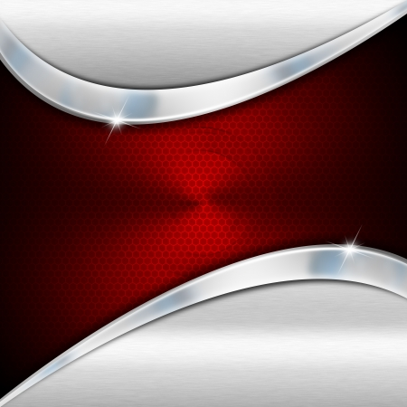 赤と金属ビジネス背景の反射波とグリッド