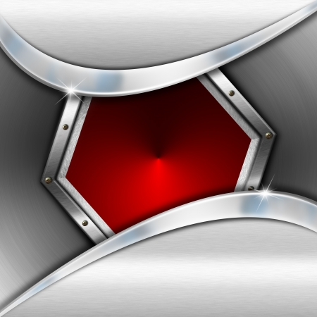 Red and metal business background with waves, hexagon and reflections Stock Photo - 20209728