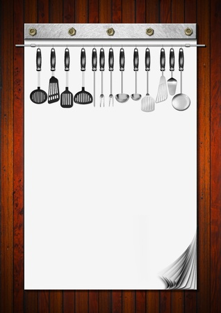 Notebook with blank pages and kitchen utensils for recipes or menu on wooden wall Stock Photo - 20209741