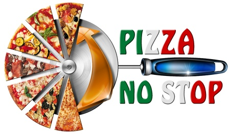 Pizza slices on the stainless steel pizza cutter and written pizza no stop Archivio Fotografico