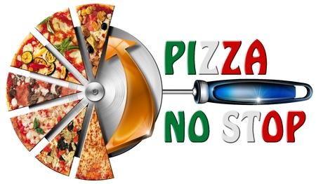 Pizza slices op de roestvrijstalen pizzasnijder en geschreven pizza niet te stoppen