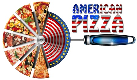 american cuisine: Pizza slices on the stainless steel pizza cutter and written American Pizza Stock Photo